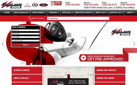 Screenshot of Home Page oaklawntoyota.com - Oak Lawn Toyota: Toyota Dealership Oak Lawn IL - captured Jan. 10, 2016