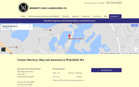 Screenshot of Locations Page moriartywc.com - Contact Moriarty, Shay and Associates Wakefield 781-246-8000 - captured Oct. 21, 2017