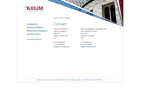 Screenshot of Contact Page axiumconsulting.com - Axium - Investigation & Intelligence - captured Sept. 30, 2014