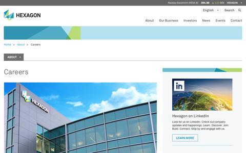 Screenshot of Jobs Page hexagon.com - Careers | Hexagon - captured Jan. 29, 2016