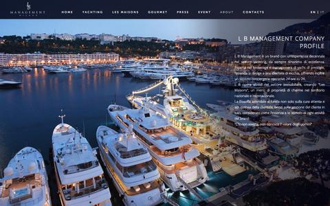 Screenshot of About Page lbmanagement.eu - About - L B Management Srl - Milano - captured Sept. 26, 2014