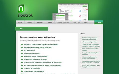 Screenshot of FAQ Page nootrol.com - FAQ | Nootrol - captured Oct. 7, 2014