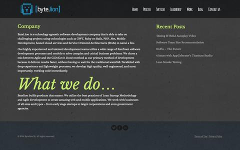 Screenshot of About Page bytelion.com - Company | ByteLion - captured Oct. 5, 2014
