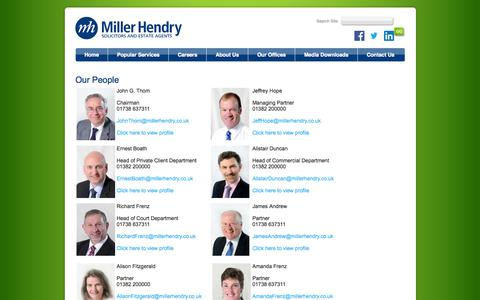 Screenshot of Team Page millerhendrysolicitors.co.uk - Our People - Miller Hendry Solicitors, Dundee, Perth & Crieff - captured Oct. 27, 2014