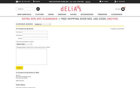 Screenshot of Contact Page delias.com - Contact Us                                           - dELiA*s - captured Sept. 15, 2014