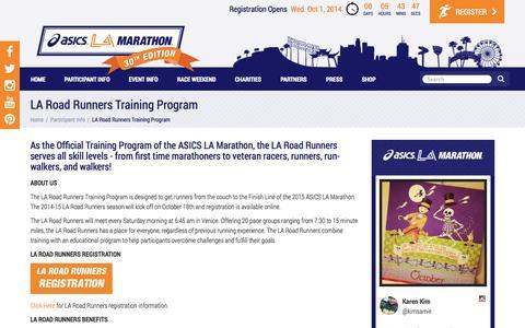 Screenshot of Maps & Directions Page lamarathon.com - LA Marathon - LA Road Runners Training Program - captured Oct. 1, 2014