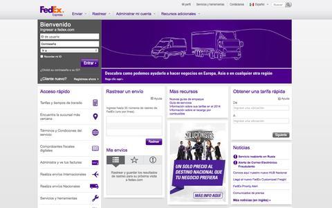 Screenshot of Home Page multipack.com.mx - FedEx® - Envíos internacionales - Paquetería - Mensajería exprés - captured Sept. 23, 2014