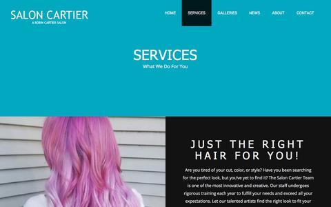 Screenshot of Services Page saloncartier.com - SERVICES - Salon - captured July 27, 2018