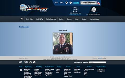 Screenshot of Testimonials Page quicksilveraircraft.com - Quicksilver Aircraft - captured Nov. 4, 2014