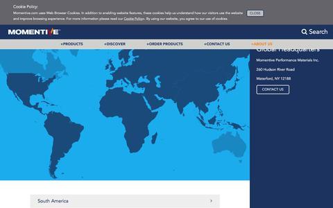 Screenshot of Locations Page momentive.com - Momentive.com - - captured Sept. 12, 2016