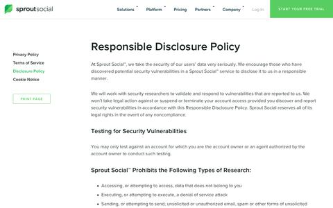 Responsible Disclosure Policy   Sprout Social