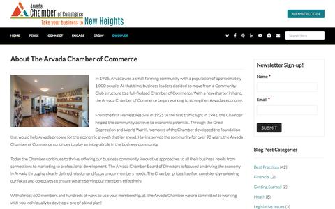 Screenshot of About Page arvadachamber.org - About The Arvada Chamber of Commerce - Arvada Chamber of Commerce - captured Nov. 21, 2016