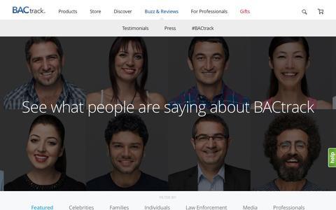 Screenshot of Testimonials Page bactrack.com - Buzz & Reviews - captured Dec. 9, 2015
