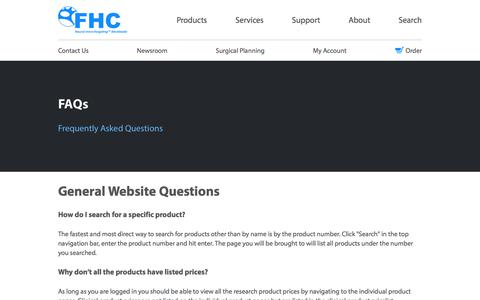 Screenshot of FAQ Page fh-co.com - FAQs | FHC - captured Oct. 13, 2017