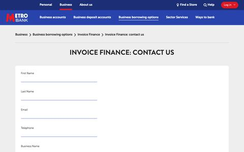 Screenshot of Contact Page metrobankonline.co.uk - Invoice Finance: contact us | Business | Metro Bank - captured Oct. 23, 2018