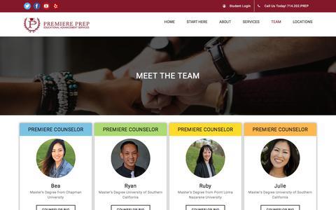 Screenshot of Team Page premiereprep.net - Team | Premiere Prep - captured July 21, 2018