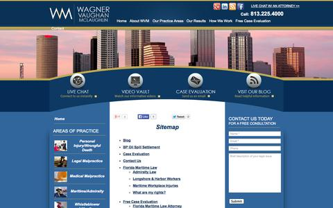 Screenshot of Site Map Page wagnerlaw.com - Ask an Accident Attorney Tampa | Wagner Vaughan McLaughlin - captured Oct. 7, 2014