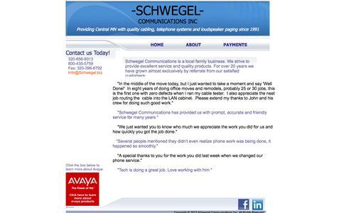 Screenshot of About Page schwegel.biz - Schwegel Communications - captured Oct. 4, 2014