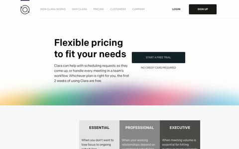 Screenshot of Pricing Page claralabs.com - Clara - captured March 13, 2018