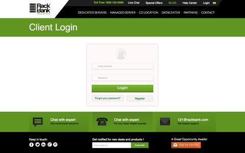 Screenshot of Login Page rackbank.com - Client Login - captured Nov. 4, 2014