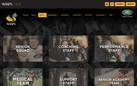 Screenshot of Team Page wasps.co.uk - Players and Staff - captured Nov. 5, 2018