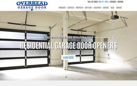 Screenshot of Home Page overheadgaragedoorllc.com - Dallas Garage Door Repair & Installation, Commercial Garage Doors, Call 800-471-4505 - captured Jan. 11, 2016
