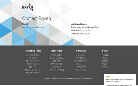 Screenshot of Contact Page raventools.com - Contact Raven Tools - captured Oct. 12, 2019