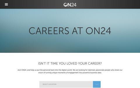 Screenshot of Jobs Page on24.com - Careers - captured Dec. 13, 2017