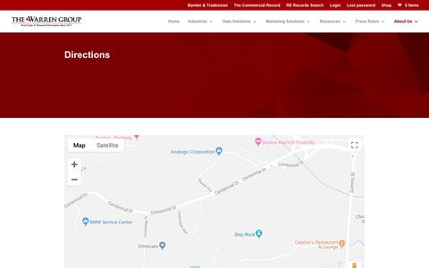 Screenshot of Maps & Directions Page thewarrengroup.com - Location | Boston, MA  | The Warren Group - captured Sept. 21, 2018