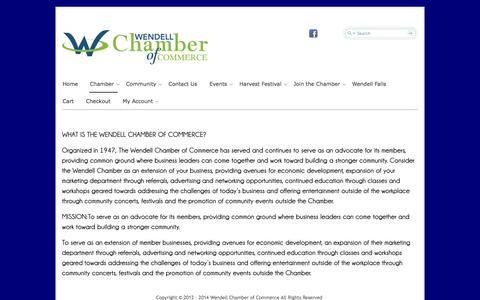 Screenshot of About Page wendellchamber.com - About Us | Wendell Chamber Of Commerce - captured Oct. 7, 2014