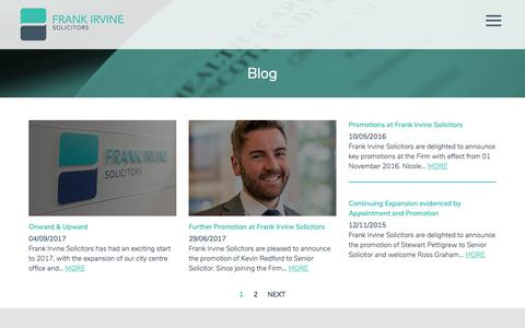 Screenshot of Blog frankirvine.com - Blog | Frank Irvine Solicitors | Mental Health & Immigration - captured Oct. 14, 2017