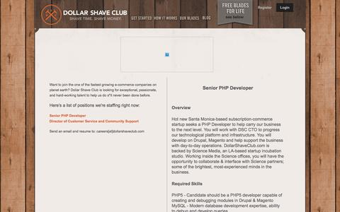 Screenshot of Jobs Page dollarshaveclub.com - We're Hiring - captured March 30, 2016