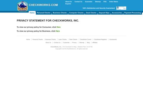 Screenshot of Privacy Page checkworks.com - CheckWorks Privacy Policy - captured Sept. 27, 2018
