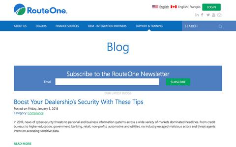 Screenshot of Blog routeone.com - Blog   RouteOne - captured Jan. 22, 2018