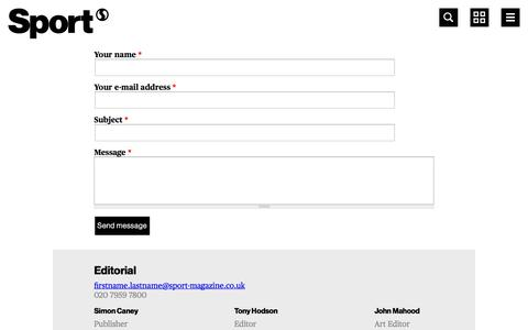 Screenshot of Contact Page sport-magazine.co.uk - Contact Us | Sport magazine - captured Sept. 19, 2014