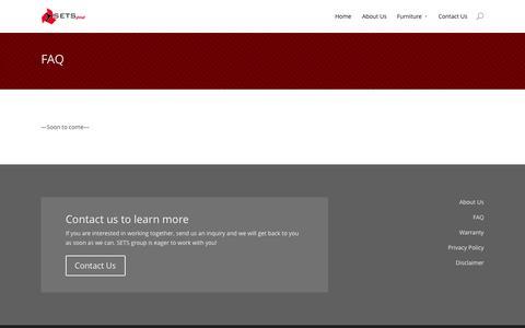Screenshot of FAQ Page setsgroup.com - FAQ   SETS group - captured Sept. 30, 2014