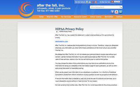 Screenshot of Privacy Page afterthefallinc.com - After The Fall, Inc. :: HIPAA Privacy Policy - captured Feb. 5, 2016