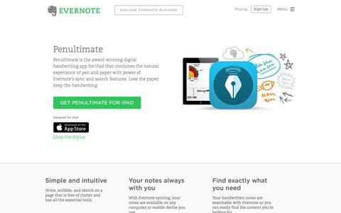 Screenshot of evernote.com - Penultimate | Evernote - captured Sept. 30, 2015