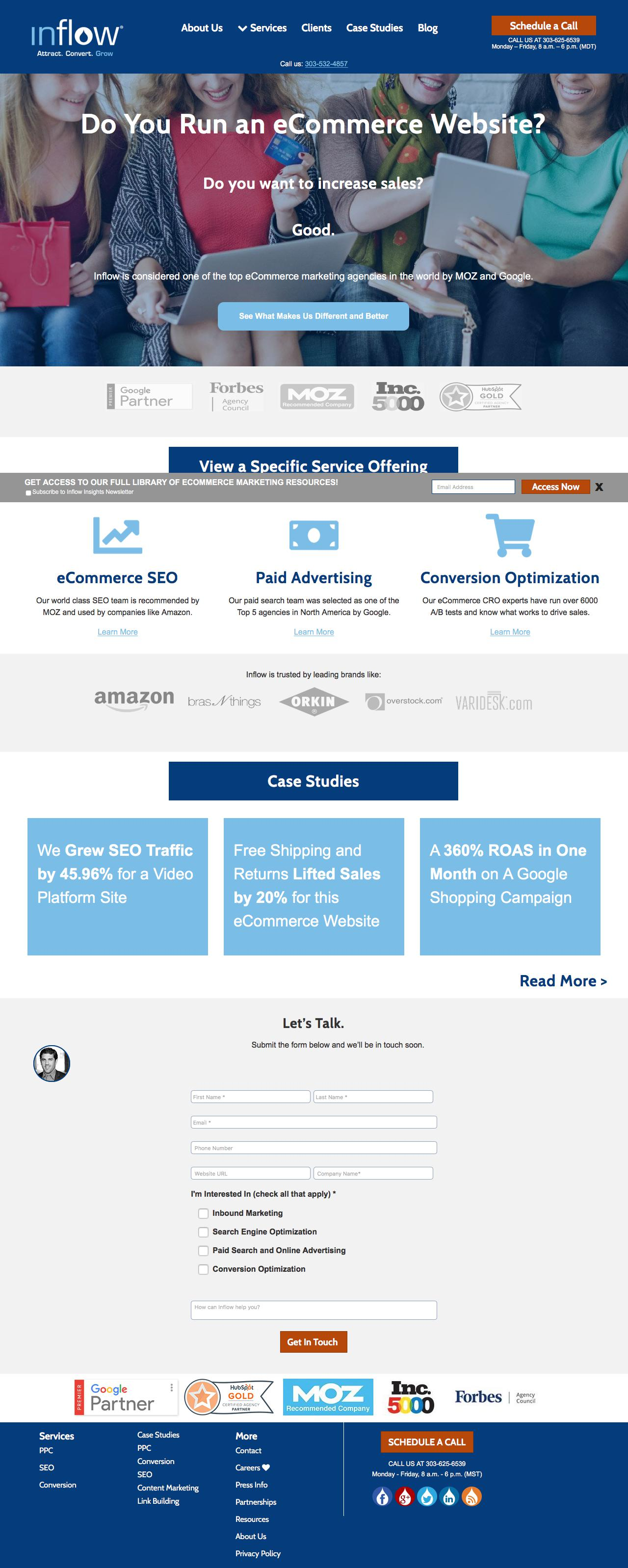 Screenshot of goinflow.com - Award-Winning eCommerce Marketing Agency | Inflow - captured June 21, 2018