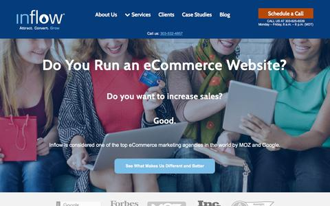 Screenshot of Home Page goinflow.com - Award-Winning eCommerce Marketing Agency | Inflow - captured June 21, 2018