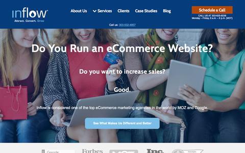 Screenshot of Home Page goinflow.com - Award-Winning eCommerce Marketing Agency | Inflow - captured June 21, 2018