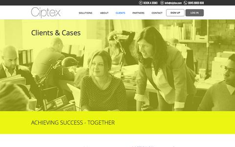 Screenshot of Testimonials Page ciptex.com - Clients & Cases - captured July 13, 2016