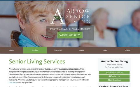 Screenshot of Services Page arrowseniorliving.com - Arrow Senior Living Services | Senior Living Property Management - captured Oct. 8, 2017