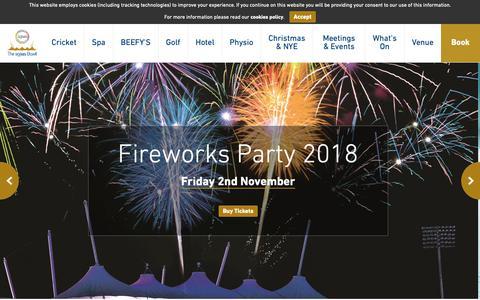 Screenshot of Home Page ageasbowl.com - The Ageas Bowl | Hilton Hotel | Event Venue | Hampshire Cricket · The Ageas Bowl - captured Sept. 27, 2018