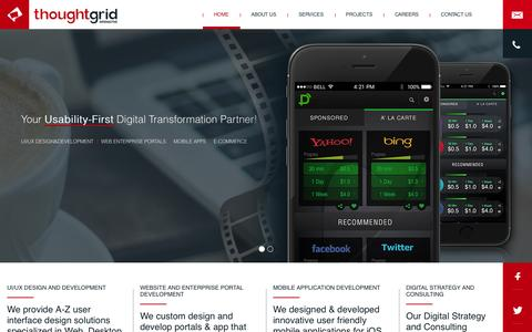 Screenshot of Home Page thoughtgridinteractive.com - Thoughtgrid - UI/UX Design and Development Company Based in Bangalore, India - captured Dec. 23, 2016