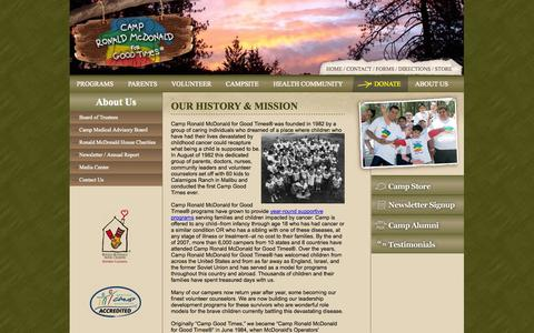 Screenshot of About Page campronaldmcdonald.org - Our History & Mission - captured Oct. 1, 2014