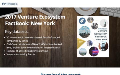 Screenshot of Landing Page pitchbook.com - PitchBook 2017 Venture Ecosystem FactBook: New York - captured Oct. 25, 2017