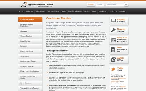 Screenshot of Support Page appliedelectronics.com - Broadcasting and Audio Visual System Installations - Customer Service - captured Oct. 3, 2018