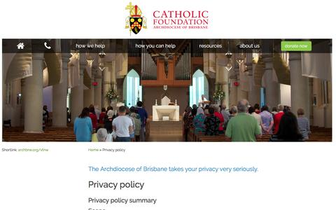 Screenshot of Privacy Page catholicfoundation.org.au - Privacy policy - Catholic Foundation - captured Jan. 26, 2016