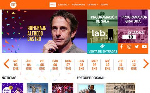 Screenshot of Home Page santiagoamil.cl - Festival Internacional Santiago a Mil 2018 — 3 > 21 / Enero / 2018 - captured Oct. 14, 2017